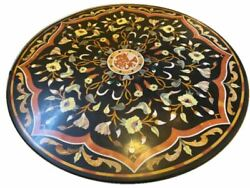 48 Black Decorative Marble Coffee Dining Side Table Top Malachite Inlay B3