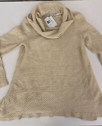 Nordstrom eight eight eight sweater $78 Long Sleeve Ivory Beige Cowl Neck Small $39.99