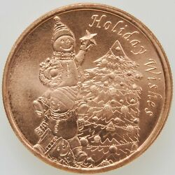 Roll 20 1 Oz Fine .999 Copper Rounds Holiday Wishes Christmas Gift Idea Coins