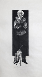 Leonard Baskin Old Man And Dog Woodcut Print On Rice Paper Signed And Numbere