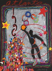 Judith Bledsoe Atlanta Olympics - Athlete With Ball Pastel And Collage On Pape