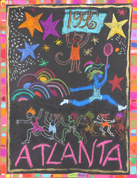 Judith Bledsoe, Atlanta Olympics - Star Athletes, Pastel And Collage On Paper, S