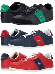 Lacoste Menand039s Casual Croc Logo Oreno 0120 Shoes Sneakers Black Navy Red