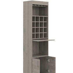 Tuhome Furniture Kava Home Bar and Wine Cabinet in Light Gray