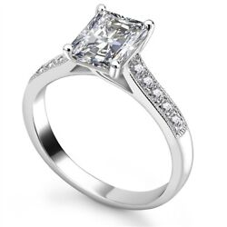 Diamond Solitaire Engagement Ring Emerald Cut 0.45cts G-si1 Gia Certificate