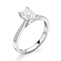 Diamond Solitaire Engagement Ring Emerald Cut 0.80cts G-si1 Gia Certificate