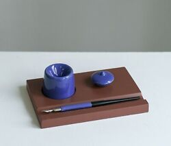 Calligraphy Set Non-spill Inkwell Pen Organizer Stand Brown Ceramics Wood