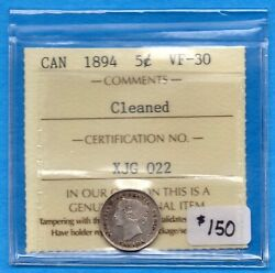 Canada 1894 5 Cents Five Cent Small Silver Coin - Iccs Vf-30 Cleaned