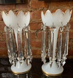 Antique Pair Victorian Gilded White French Opaline Glass Lustres Crystal Prisms