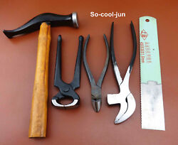 5pc Leathercrafts Cobbler Side Cutter Pliers Pincers Nail Puller Hammer Tool Set