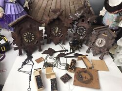Lot .. Vintage Wooden Cuckoo Clocks For Parts Made In Germany