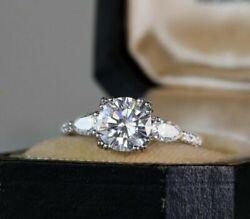 Solid 14k White Gold 2.40ct Round D/vvs1 Three Diamond Engagement Ring In Size 8