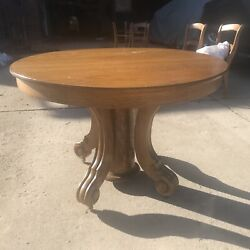Round Oak Dining Table With 5 Leaves And 6 Matching Cane Chairs