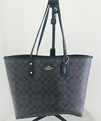 COACH Large Brown Signature C Coated Large Tote Shoulder Bag $95.00
