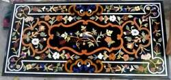 4and039x2and039 Black Marble Center Dining Bird Table Top Inlay Malachite Coffee X1