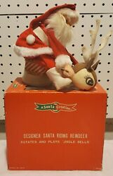 Vtg 1950and039s Exclusive Windup Musical Santa Riding Reindeer W/box Made In Japan