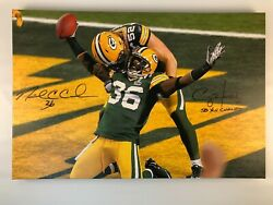 Nick Collins And Clay Matthews Autographed 24x36 Sb Xlv End Zone Canvas Print
