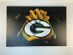 Aaron Rodgers And Clay Matthews Autographed 24x36 Packer Gloves Canvas Print