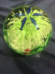 Massive Murano Glass Paperweight With Dolphins And Bubble Trap Multicolor 5x51/2