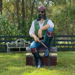 Lifesize Pirate On Treasure Chest Statue With Gold Coins Pistol Gun Pearls