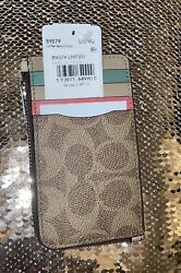 Coach Coated Canvas Signature Zip Card Case Tan Sand Orchid Silver New $50.00