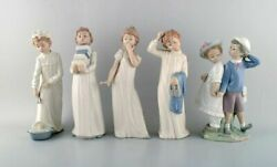 Lladro And Nao, Spain. Five Porcelain Figurines Of Children. 1980 / 90's