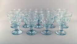 14 Large French Designer Glasses In Mouth Blown Art Glass. Mid-20th Century.
