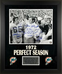 1972 Miami Dolphins Team Autographed 16x20 Photo With 21 Signatures Framed Jsa