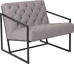 Hercules Madison Series Retro Light Gray Leathersoft Tufted Lounge Chair New