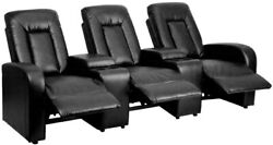 3-seat Reclining Black Leather Theater Seating Unit With Cup Holders New