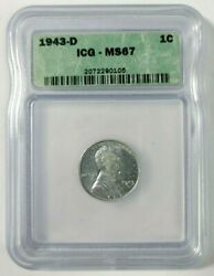 1943-d Steel Lincoln Wheat Cent Icg Ms67