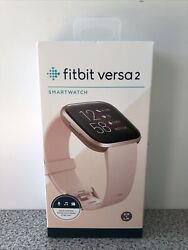 Sealed Fitbit Versa 2 Smart Watch Copper Rose Aluminum Case Large+small Bands