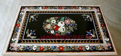 Antique Malachite Black Marble Dining Coffee 3'x3' Side Table Top Pietra Inlay