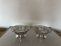 Pair Of Silver Plated Pierced Footed Bowls In Super Condition