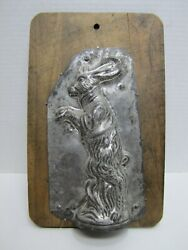 Old Rabbit Easter Bunny Tin Chocolate Mold Mounted Wooden Board Kitchenware Art