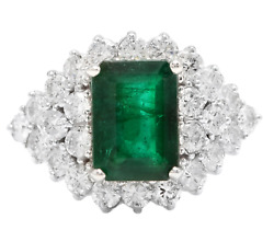 4.70ct Natural Emerald And Diamond 14k Solid White Gold Ring