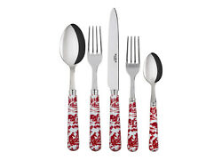 SABRE PARIS TOILE de JOUY RED 5 PIECE FRENCH FLATWARE PLACE SETTING CUTLERY $110.00