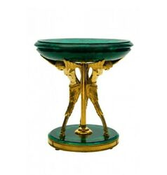 15 Marble Table Top Dining Coffee Inlay Green Malachite With Brass Stand Item