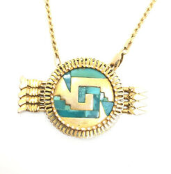 Great Vintage 14k Yellow Gold Turquoise Native American Arrow Heavy Necklace