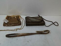 GOLD PURSES AND GOLD BELT LOT OF 3 $32.95