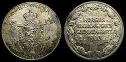 Norway, 1906 Silver 2 Kroner Independence Km 363 Toned Unc Mintage Only 100,000