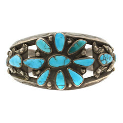 C. 1930s Navajo Turquoise Cluster And Silver Bracelet, Size 7 Sold As Is