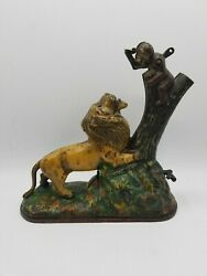 Kyser And Rex Antique Rare 1883 Lion And Monkeys Mechanical Cast Iron Bank