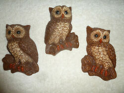 Vintage Home Interiors Homco 3 Retro Foam Brown Barn OWLS Family Wall Hanging