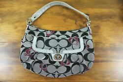 Coach J1193 18756 Signature Poppy Canvas Gray Black Pink Hobo Hand Bag $19.95