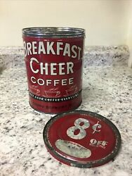 Vintage 2 Pound Breakfast Cheer Coffee Can Tin With Lid 8 Cents Off
