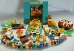 Vtg Fisher Price A-frame House, Extra Bunks,snowmobile,motorcycle,mini-bus,65 Pc