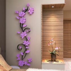 Flower Sticker Home Decor Living Room Wall Stickers DIY Vase 3D Tree Decals