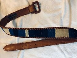Vintage Artesania Mexico Fabric Brown Laced Leather Belt With Leather Buckle 34