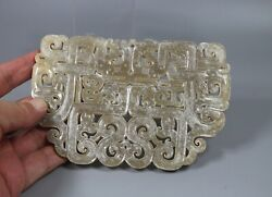 Chinese Old Zhangou Period Jade Carved Double Dragon Figure Big Pei Pendant